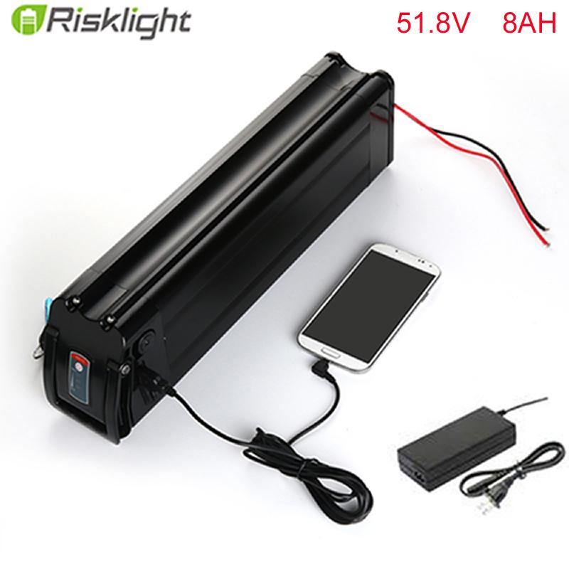 No taxes High quality 52v ebike battery 52v 8ah lithium ion battery pack  with charger for 8fun mid drive motor kits with 5V USB
