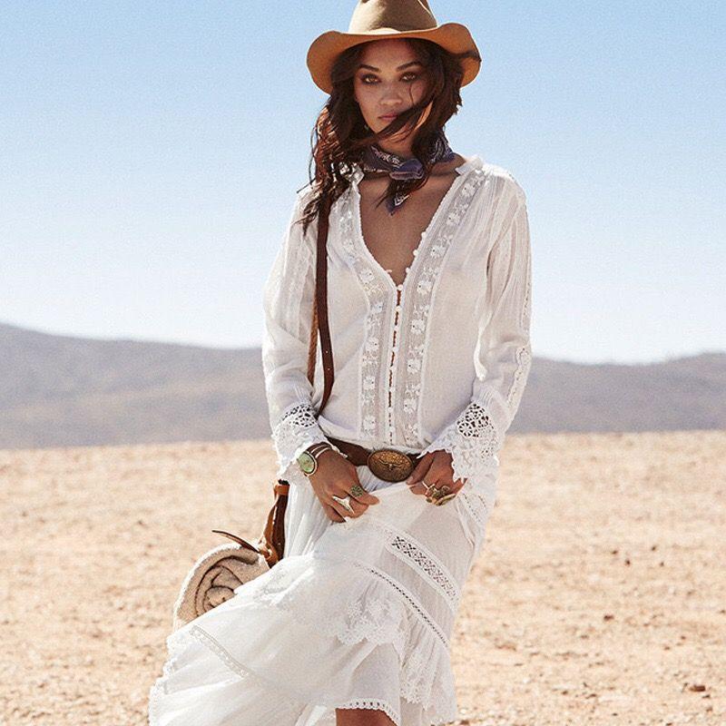 pas mal 91577 1b491 Blanc chemise femmes à manches longues blouses de bohème pour les femmes  évider v-cou coton dentelle chemise femme blouse boho tops de broderie