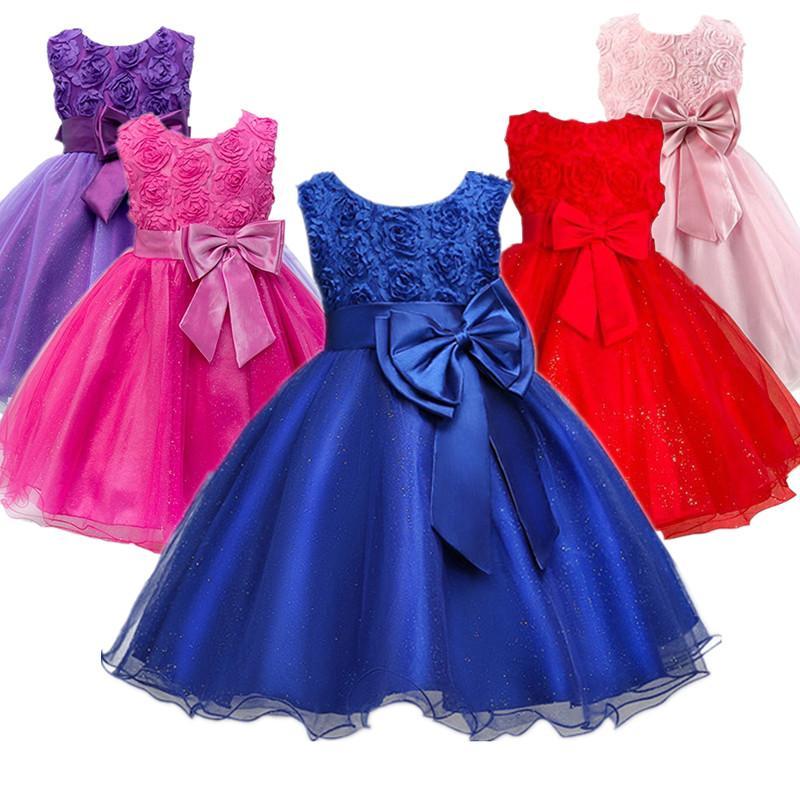 72e48d802 Compre Vestido De Niña De Las Flores Azul Para La Noche Traje De Fiesta De  Graduación Adolescentes Ropa Para Niños Vestido De Cumpleaños De La Boda  Ropa De ...