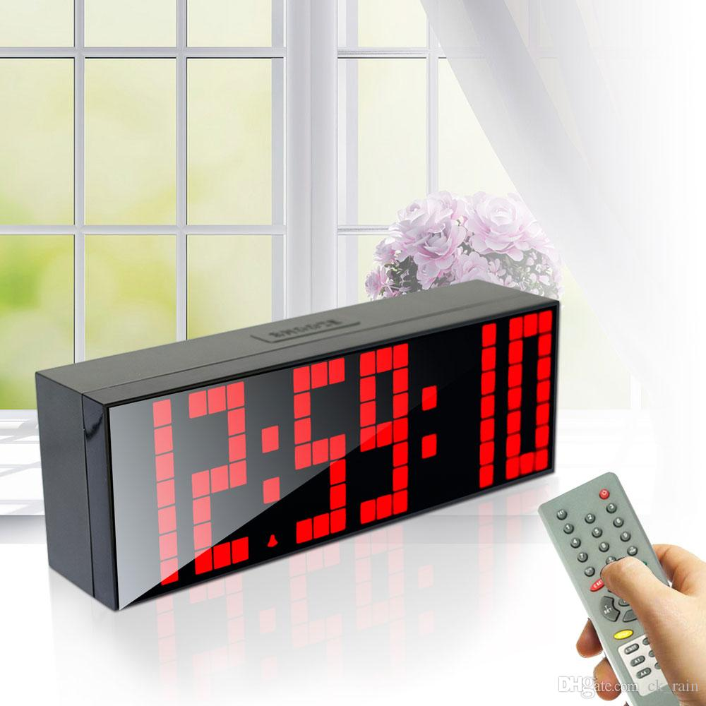Large Digital Jumbo LED Alarm Clock Remote Control Countdown Table  Backlight Bedroom Clock Stopwatch Renmote Controller