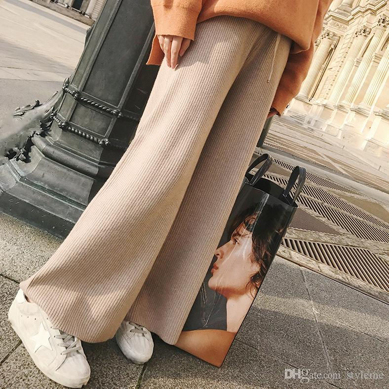 Brand Designer Women Wool Tracksuits 2018 Autumn Winter Casual Thick Drawstring Elastic Waist Wide Leg Knitted Pants Trousers Knitwear