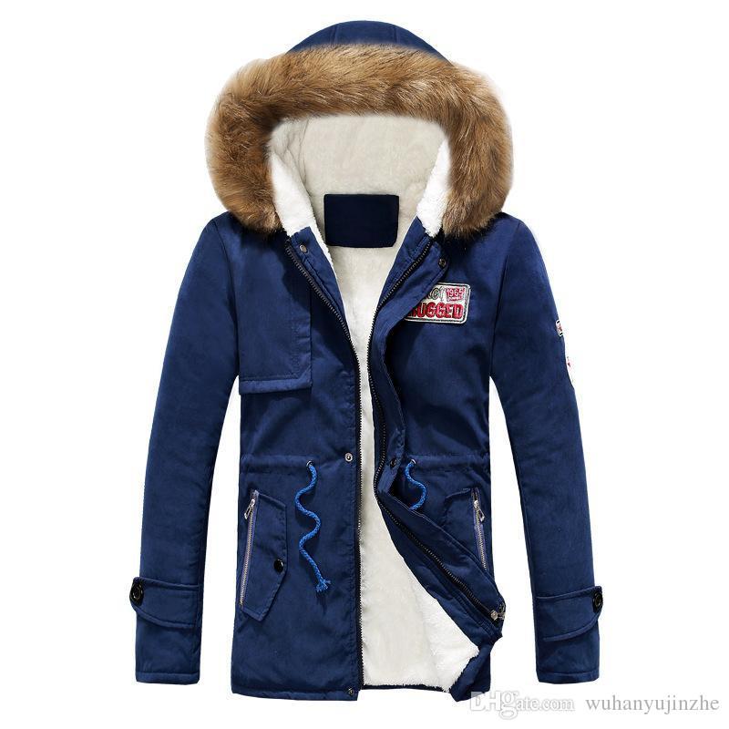cbe141adcfd9 2018 Hot Sell Fashion Jacket Mens Warm Parka Fur Collar Hooded ...
