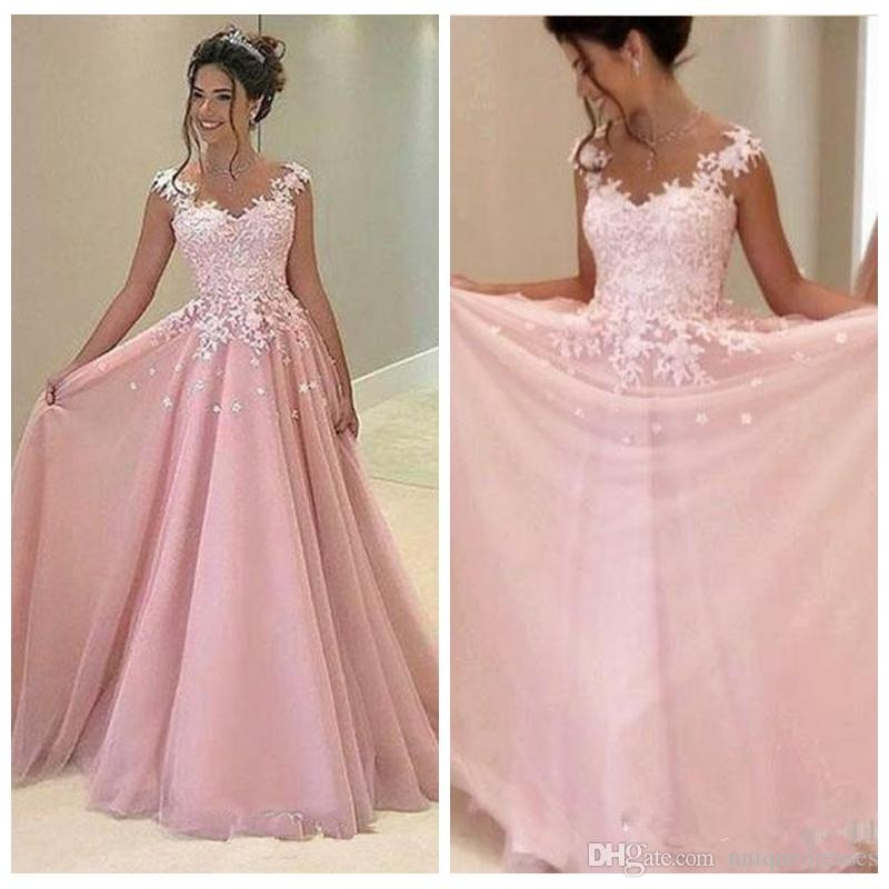 b227647eced15 Cheap Baby Pink 2018 Prom Dresses Appliques Lace A Line Tulle Long Dresses  Party Evening Formal Cocktail Party Dress