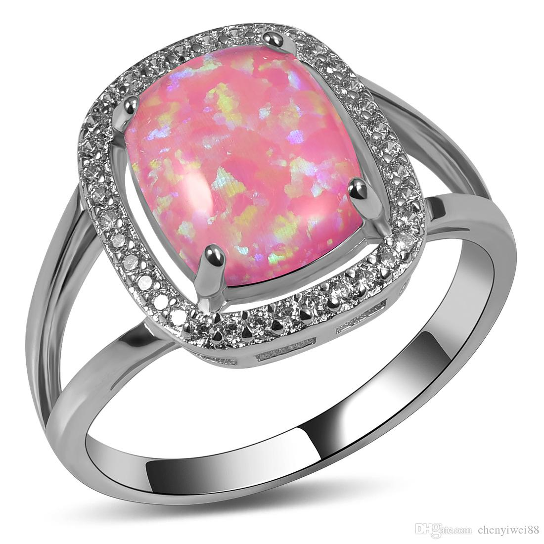 Online Cheap Weinuo Pink Fire Opal White Crystal Ring 925 Sterling ...