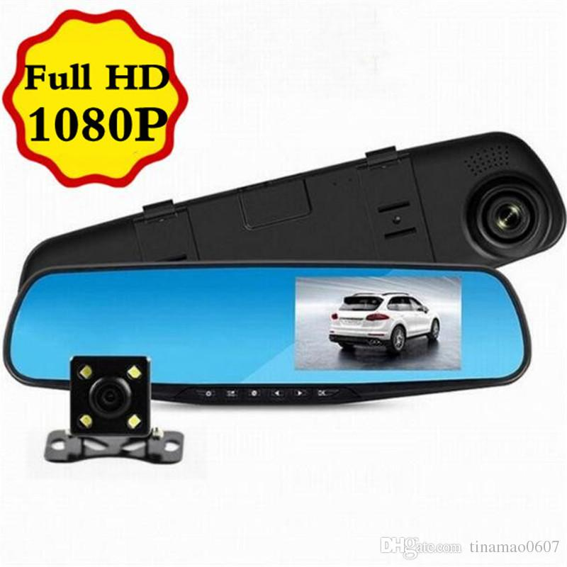 Car Dvr Mirror Camera 4 3 Lens Dash Cam Recorder Full Hd 1080p Night Vision Rearview Two Dual Cameras Parking Rear View Video