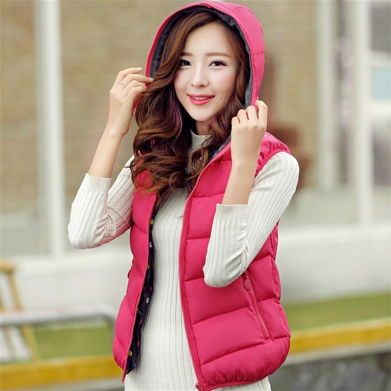2017 New Autumn Winter Vest Women Waistcoat 2017 Female Sleeveless Jacket Zipper Hooded Warm Vest Female Plus Size M- 3XL