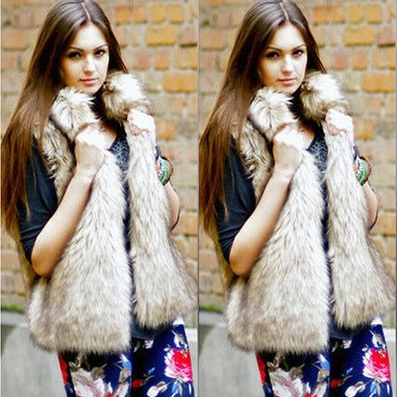 c4b951b1b4e 2019 2017 Winter Womens Fake Fur Coats Plus Size Sleeveless Faux Fur Jacket  Ladies Luxury Fluffy Rabbit Vest Gilet Fourrure Femme From Baiqian