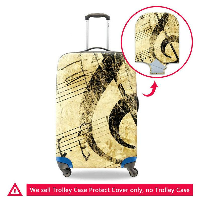 Fashion Women Travel Accessories Musical Note Printed Anti-fouling Elastic Stretch Luggage Protective Covers Girls Dust Rain Baggage Cover