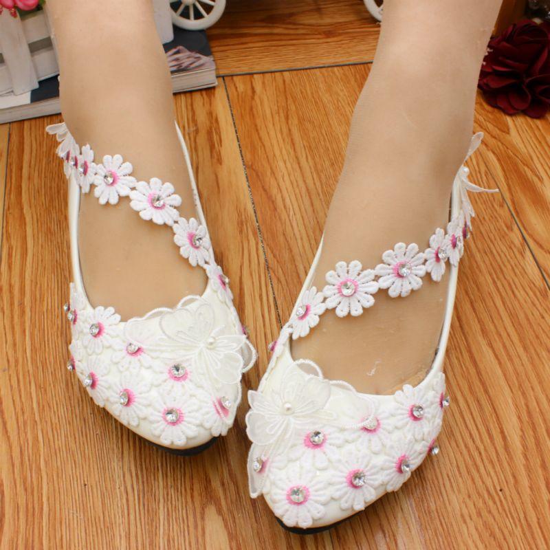 Cute Flower Pink Stamens Ladies Bridal Shoes Flower Straps Low Heels Slip  On Crystals Spring Flower Women Pump Heels Woman Shoes