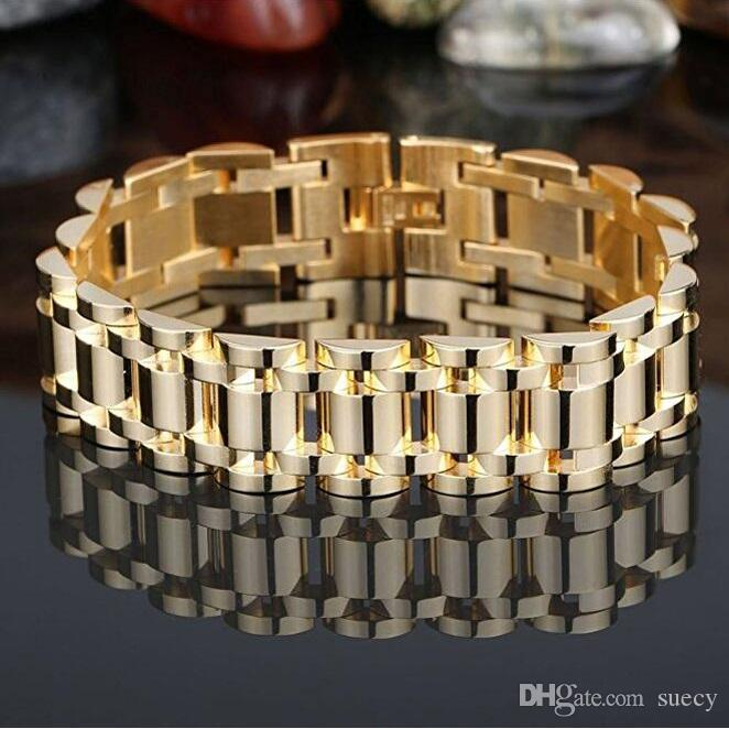 2018 Gold 316l Stainless Steel Biker Jewelry MenS Bracelet High
