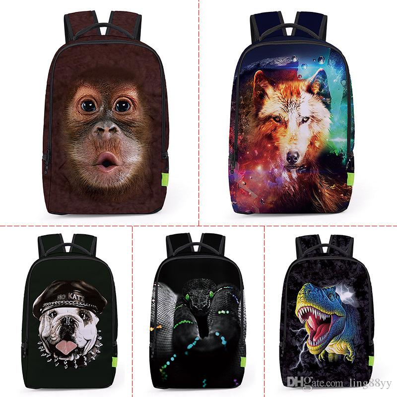9be5c1874fe8 Wholesale 2017 3D Printing Animals Wolf Backpack Men Women Sports  Waterproof Mochilas Students School Bag For Girls Boys Travel