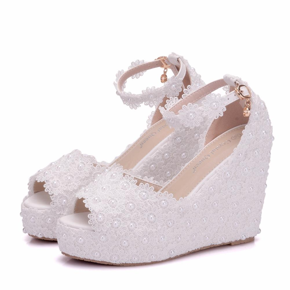 New Fashionl Handmade lace flowers peep toe shoes for women heels fashion wedding shoes wedge heels shoes elegant Plus Size Bridal sandals