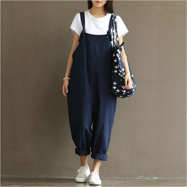 6f2001c0c279 2019 Women S Casual Loose Linen Pants Cotton Jumpsuit Strap Harem Trousers  Overalls From Muscccc