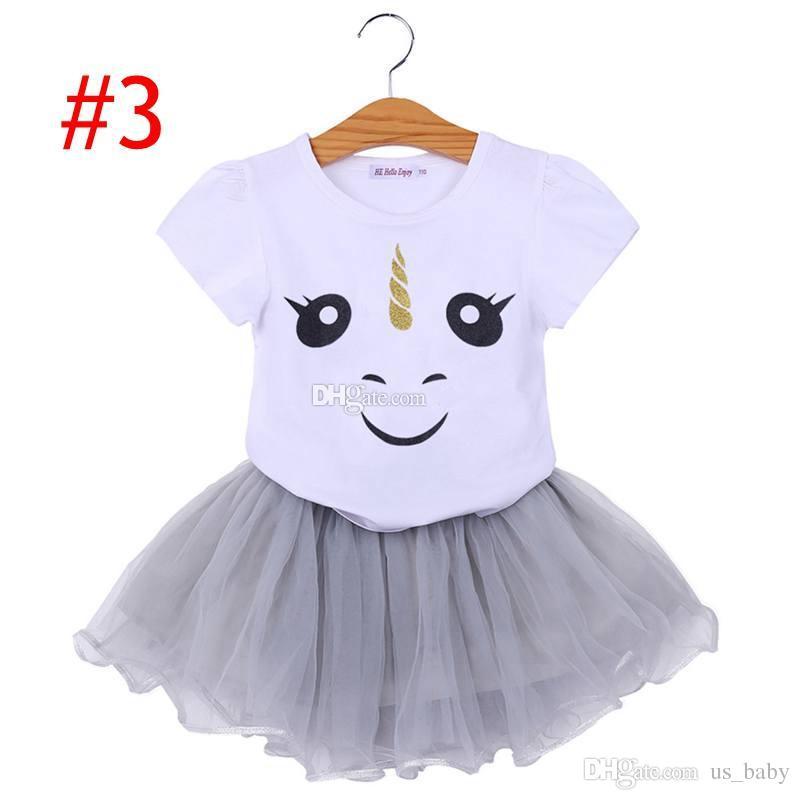 Tenue de jupe Tutu de vêtements de bébé de bande dessinée d'enfants de licorne d'enfants filles convient 4style choisissent