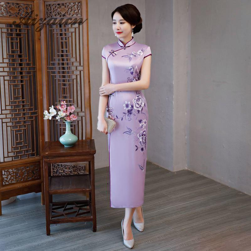 57276195d 2019 Traditional Chinese Silk Dress Married Women Qipao Modern ...
