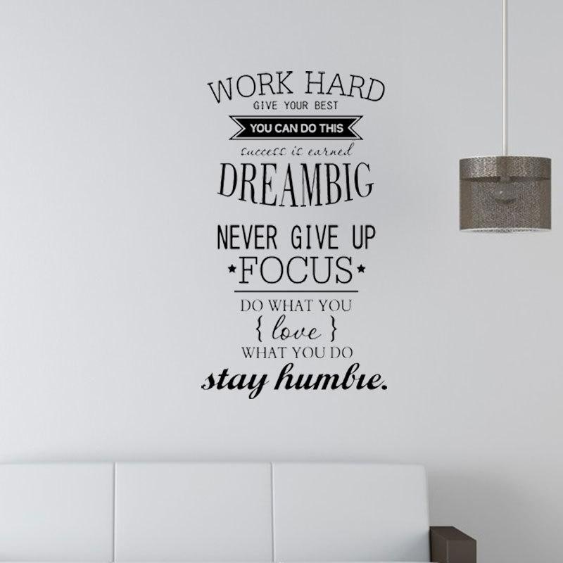motivation wall decals office room decor never give up work hard