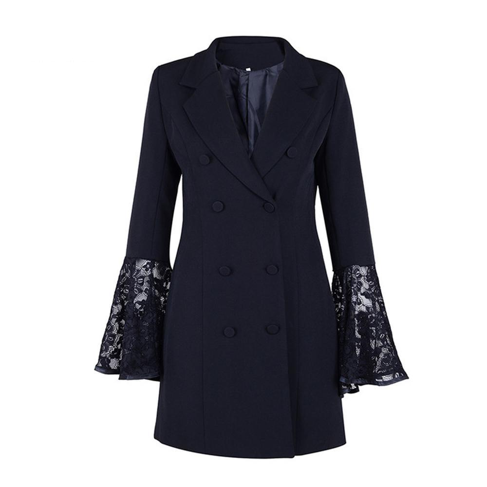 bf1332fe4bc Acheter Plus La Taille Blanc Noir Blazer Femmes Mince Blazer Femme Dentelle  Flare Manches Femmes Blazers Et Vestes Long Coton Costume Veste Manteau De  ...