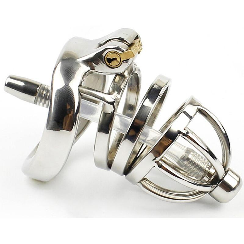 304 Stainless Steel Chastity Belt Penis Cage Cock Ring Sleeve Male Chastity Device With Urethral Catheter BDSM Sex Toys For Men Y1892804