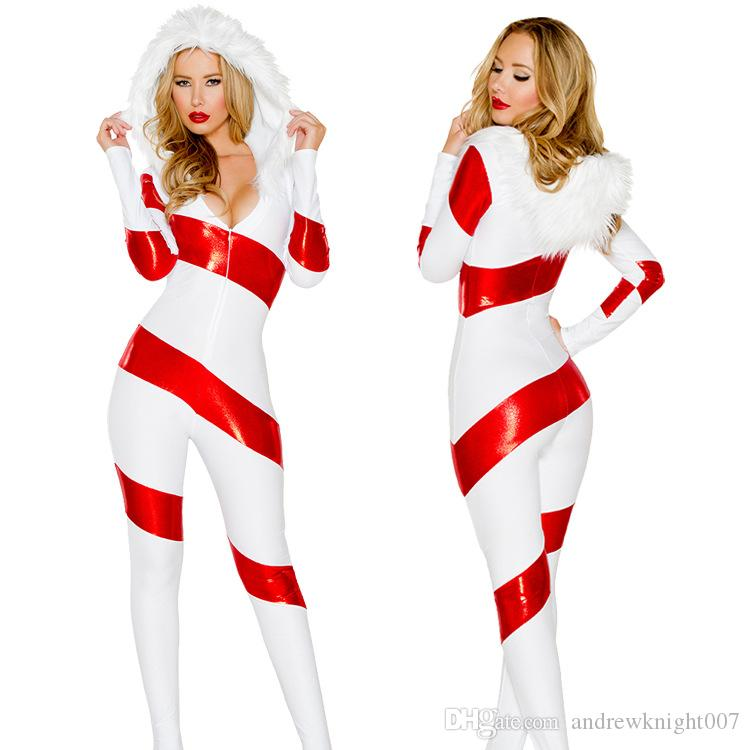 27df2fa8215 Women Deluxe Sexy Santa Candy Hooded Jumpsuit Costume Miss Santa Claus  Christmas XMAS Sweet Outfits Costumes DK7087CP Halloween Group Costume  Themes ...