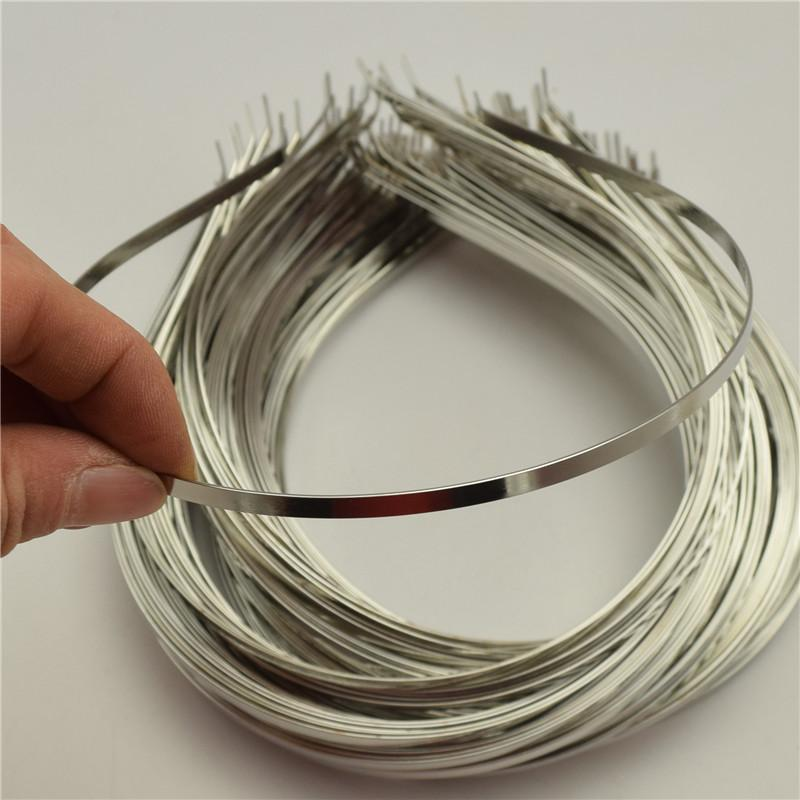 New Fashion 50pcs 4mm Alice Bands Wide Metal Headband Silver Color Plain Lady Hair Bands Headbands No Teeth Diy Wide Selection; Jewelry & Accessories Jewelry Findings & Components
