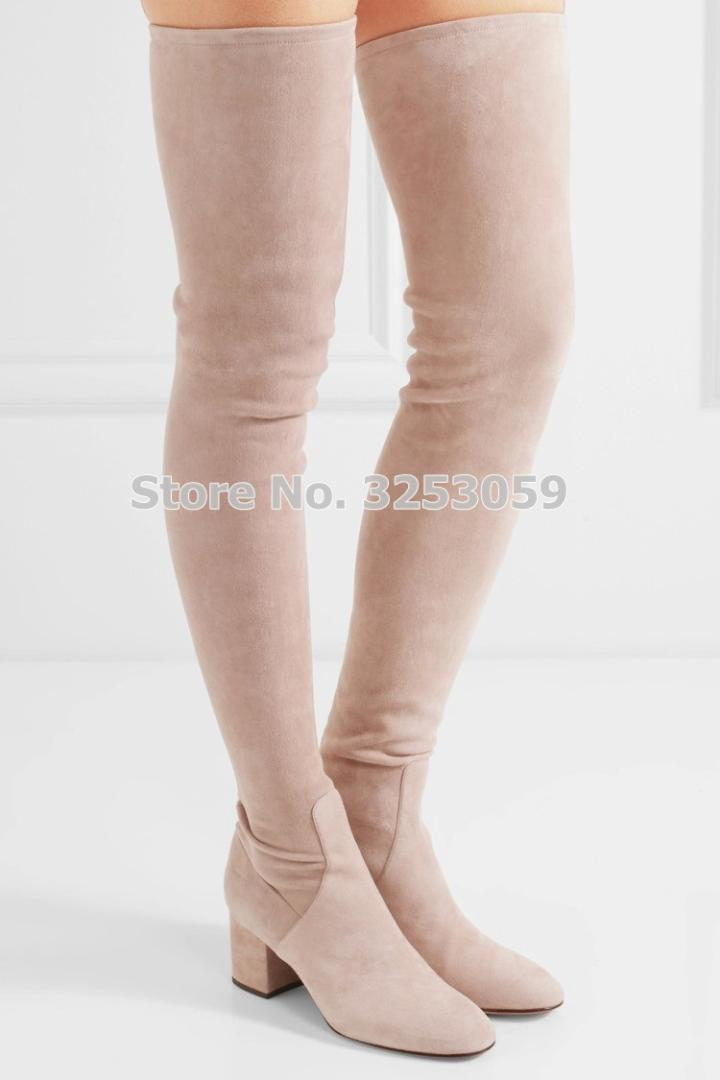 182f73d55817 ALMUDENA Women Sexy Thick Heel Elastic Suede Thigh High Boots Slim Boots  Gladiator Long Chunky Heels Dress Shoes Dropship Slipper Boots Ankle  Booties From ...