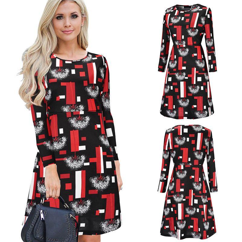 9d817d2a95fc Christmas Party Dress Geometric Print Knee Length Casual A Line Dresses  Women Little Black Dress Modest Dresses White Summer Dresses From  Sinofashion, ...