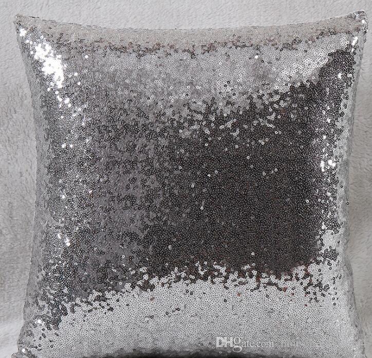 Lentejuelas almohada cubre Lentejuelas Cojín Casos funda de almohada No Cambio de color 40 * 40cm almohadilla para el sofá Oficina de coches de decoración del hogar es