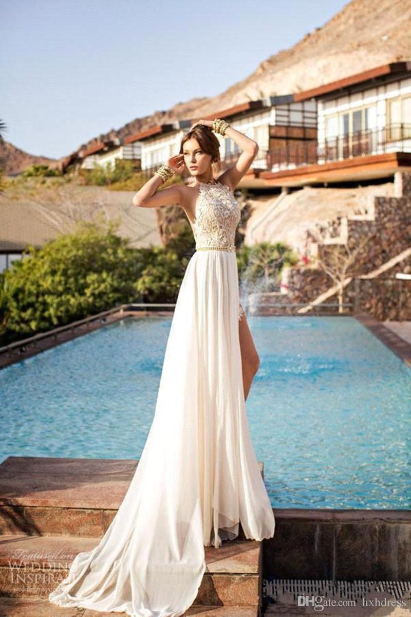 2020 New Sexy Cheap Julie Vino Summer A line Lace Wedding Dresses Halter Backless vestido de novia Split Beach Bridal Gowns