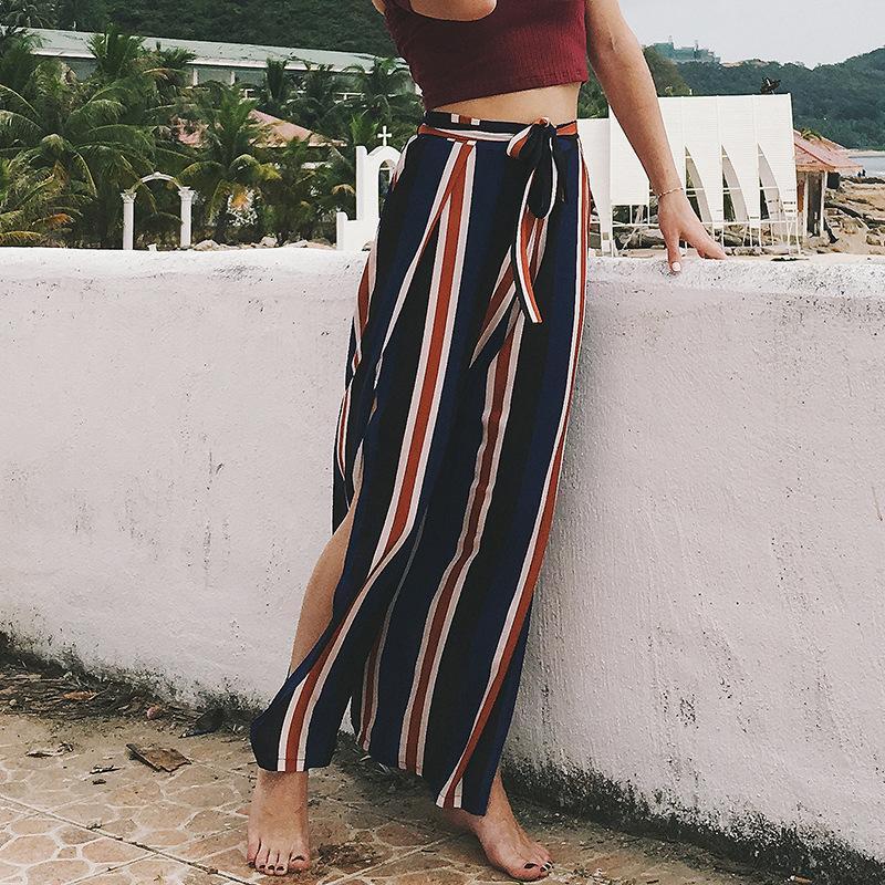 5b96f92c63 2019 High Split Stripe Wide Leg Pants Women Summer Beach High Waist Trousers  Chic Streetwear Sash Casual Pants Capris Female From Sdy5, $11.06 |  DHgate.Com