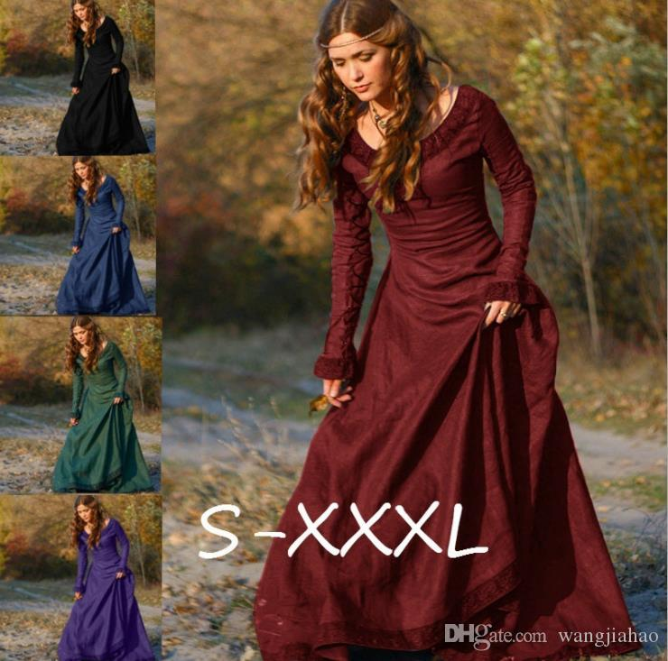 Dresses for Womens Clothes Fashion Dress 2018 Vintage Medieval Victorian Long Sleeve Ball Gown Renaissance Gothic Women Dress