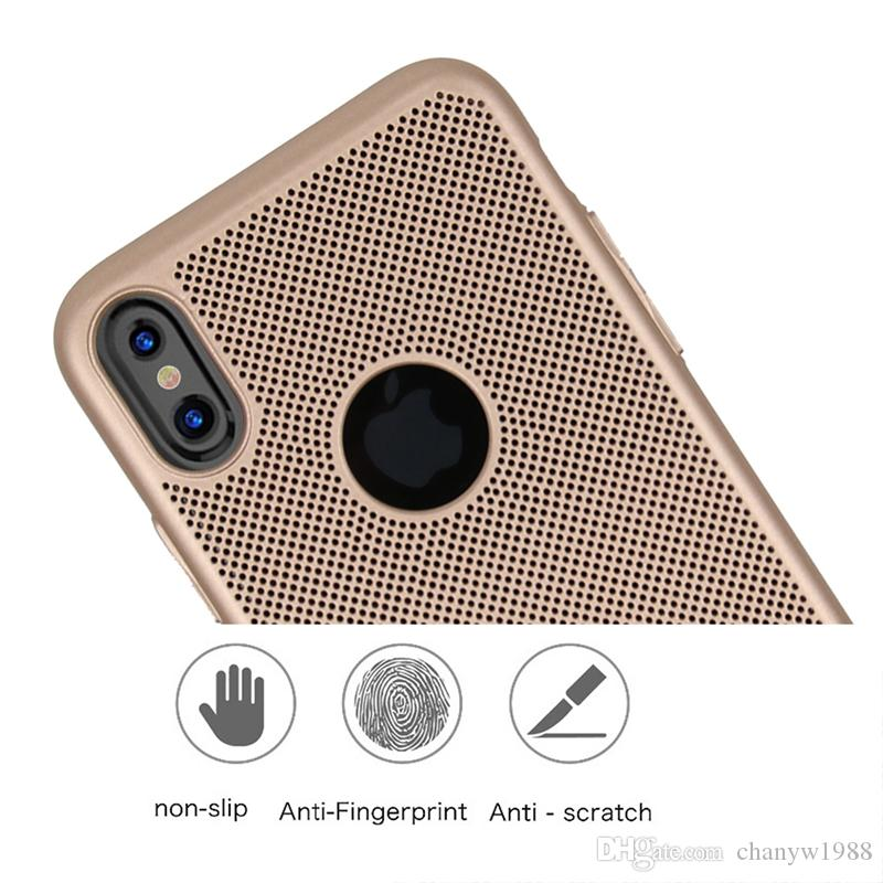 For iPhone XS /New Iphone XR Mesh Net Grid Hollow Out Dot Ventilation Mat PC Hard Back Cover Case for iphone X 5.8 inch