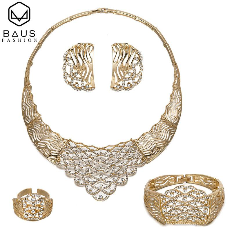 2019 Dubai Gold Jewelry Sets For Women Crystal Big Necklace Bridal
