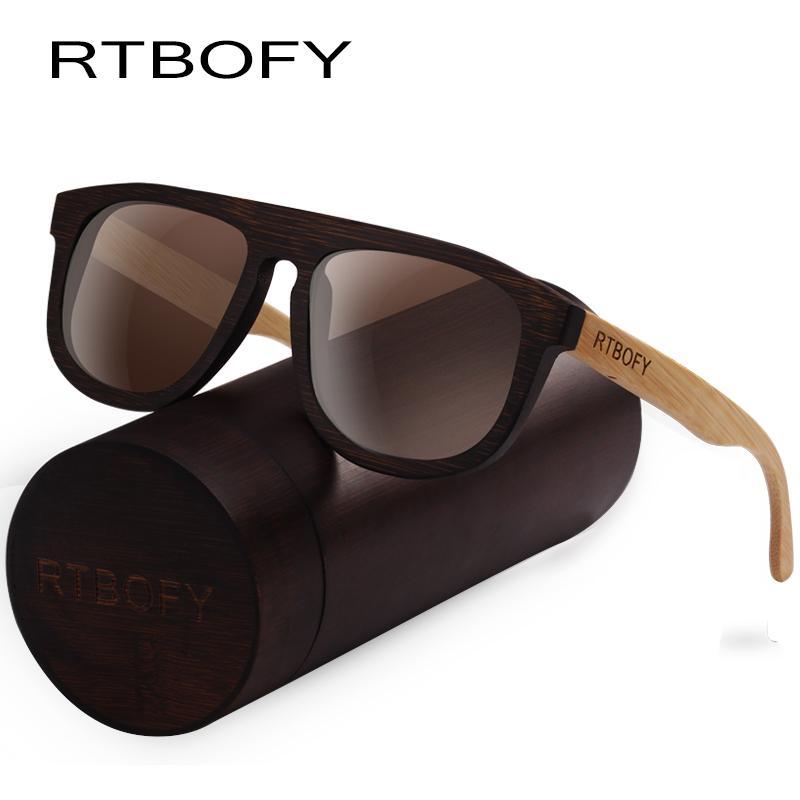 998d307b4fe RTBOFY Wood Sunglasses For Men   Women Bamboo Frame Eyeglasse Polarized  Lenses Glasses Vintage Design Shades UV400 Protection Eyewear Designer  Sunglasses ...