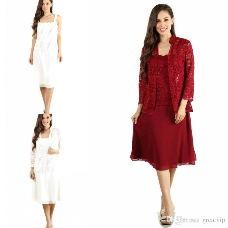 993c22ffb Compre Tallas Grandes Vestidos De Madre De La Novia Con Chaquetas Chalecos  Faldas De Encaje Hasta La Rodilla Vestido De Madre Vestidos De Fiesta Para  La ...