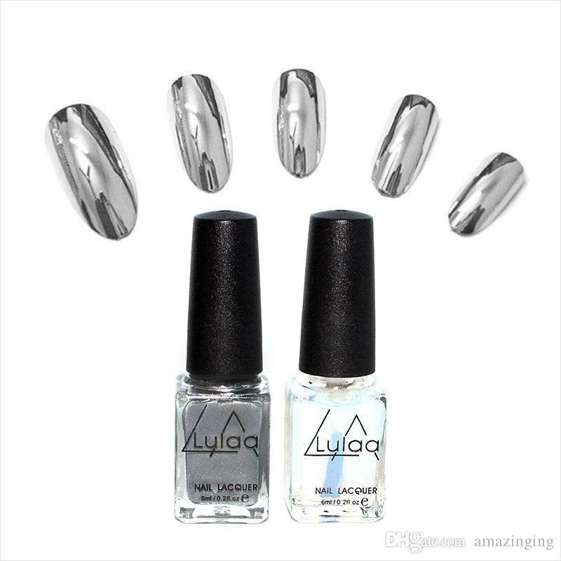 LULAA Mirror Nail Polish Smooth Bright Water Peelable Silver Nail ...