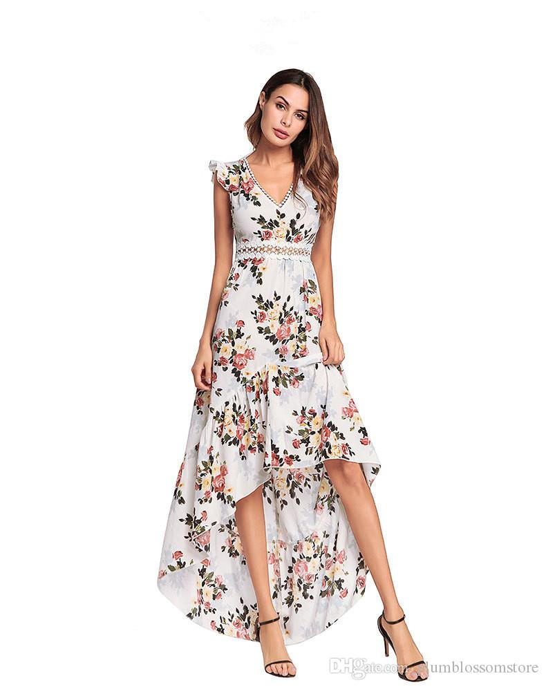 Women Summer Dress Beach Floral Printed Bohemian Maxi Dress 2018 New  Fashion Sexy V Neck Irregular Split Holiday Seaside Boho Long Dress Hot  Juniors Party ... 2c64afc85