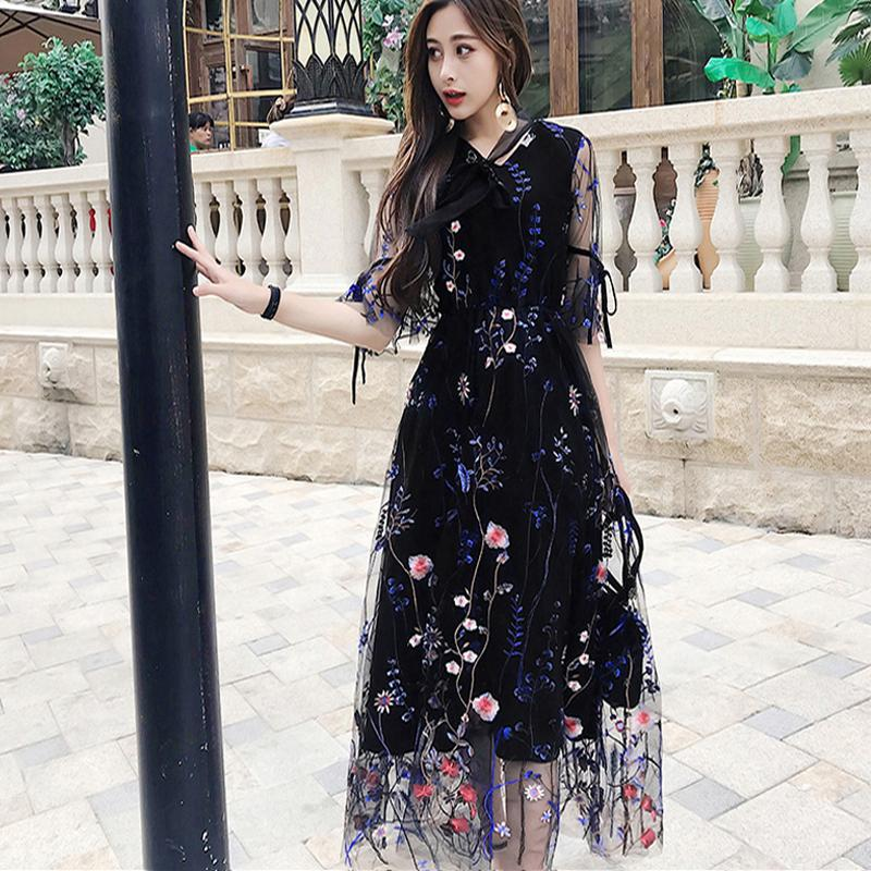 4310aedd37b64 Newest Fashion Runway Maxi Dress Women elegant Long Sleeve Tulle Gauze  Flower Floral Embroidery Black Vintage Summer Long Dress