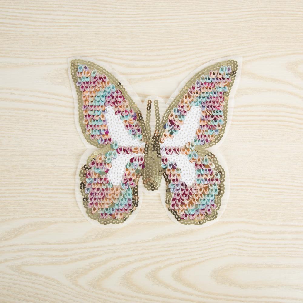 Coser, colorido, parche de tela, para mujeres, lentejuelas preciosas, mariposa, parches para niños, 3D, bricolaje, decoración, apliques, insignias, pegatinas