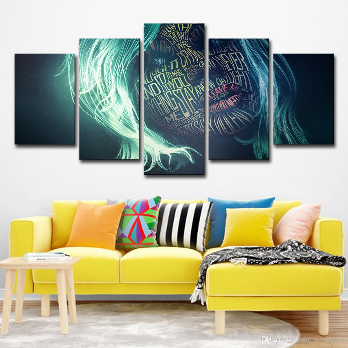 Wall Art Posters For Living Room Home Decor Abstract Pictures 5 Pieces Women Letter Graffiti Face Canvas Painting