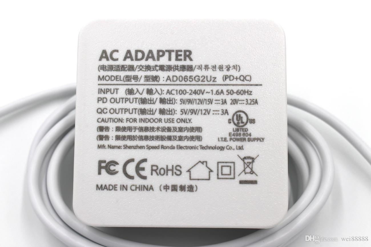 65W Type-C 20V 3 25A 15V 3A AC Adapter Charger Power Supply For Lenovo  Apple ASUS HP XIAOMI Laptop USB-C
