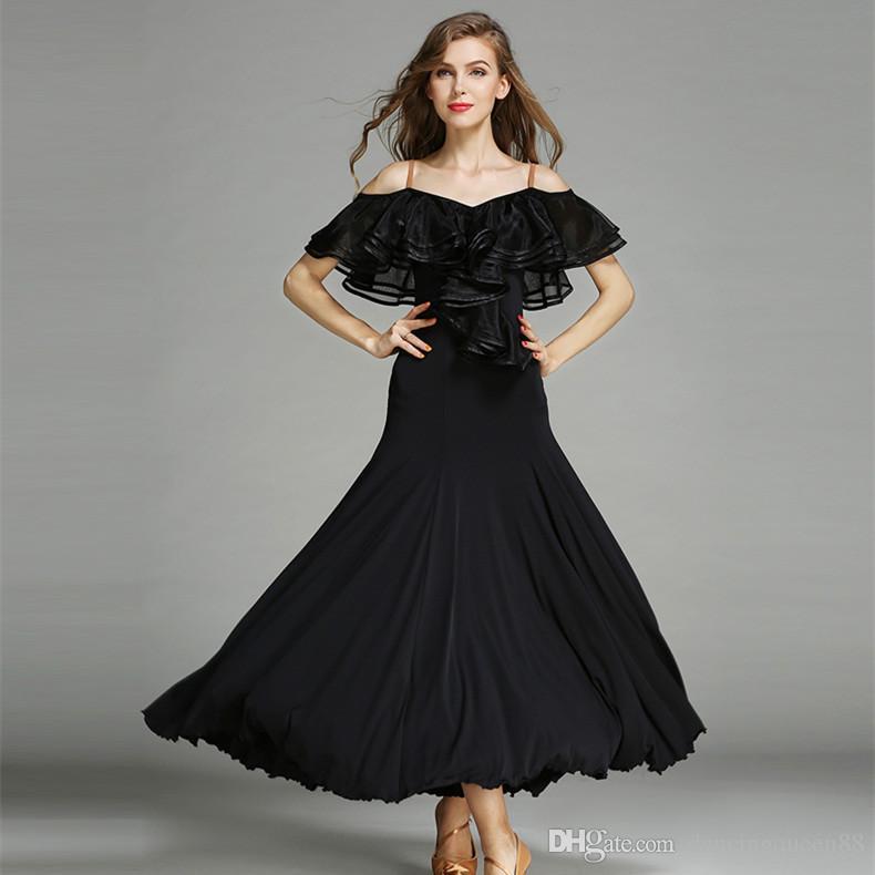 2018 estilo 3 cores vermelho vestido de flamenco traje de dança espanhola dança de salão vestidos de dança de salão vestidos de dança de salão valsa tango preto