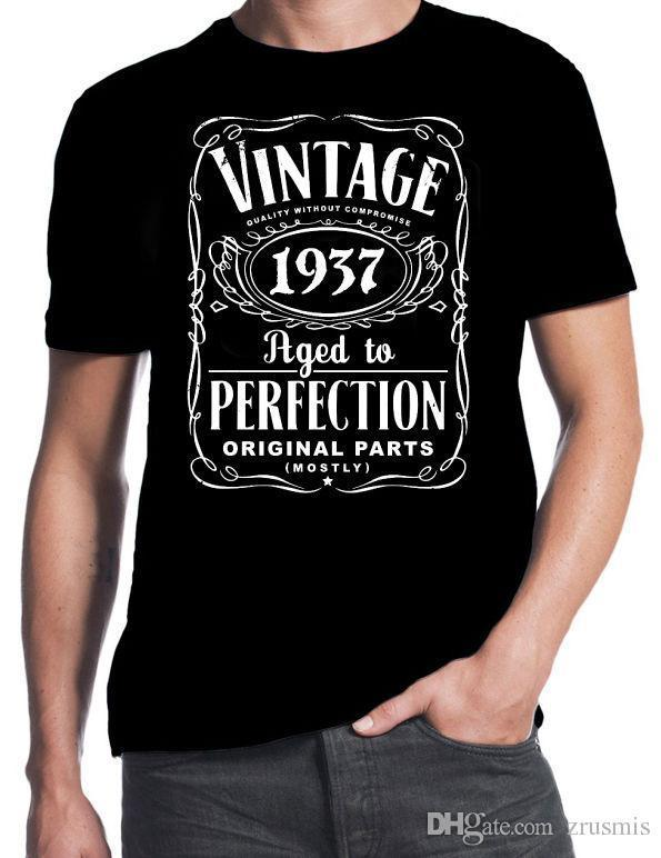 80th Birthday Vintage Aged To Perfection 1937 80 Years Old Gift Present T Shirt Cool Casual Sleeves Cotton Fashion Comical Shirts With