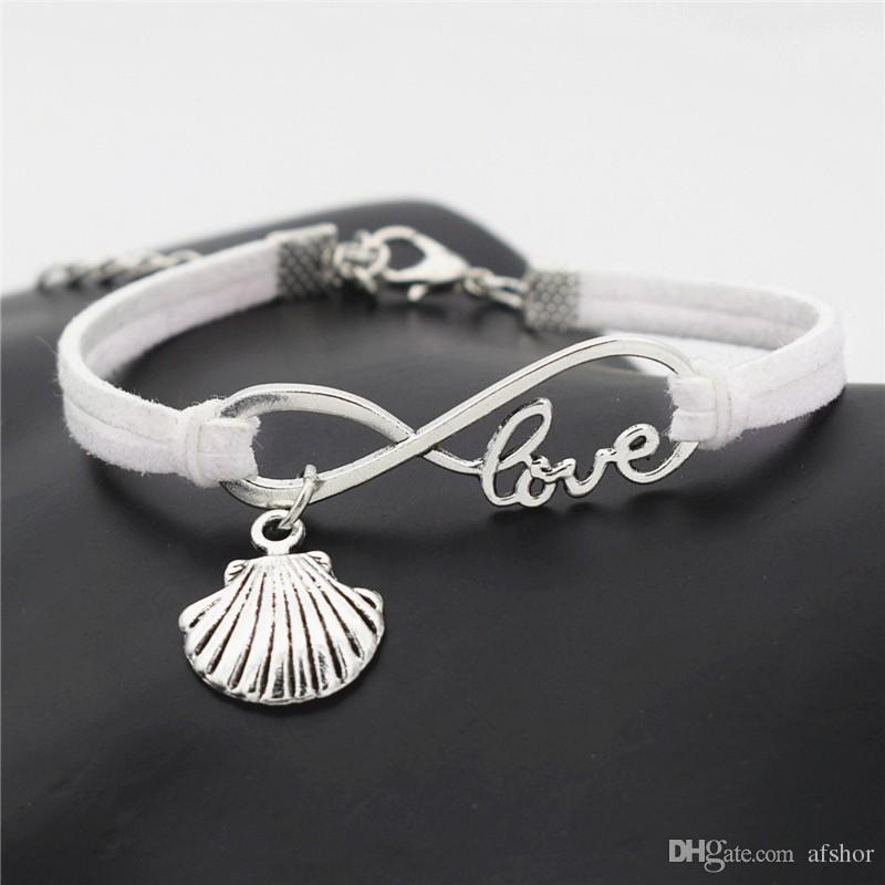 AFSHOR New Beach Vintage Style Antik Silber Unendlichkeit Liebes Muschel Muschel Muschel Charms Anhänger Leder Armbänder Nettes Geschenk Schmuck