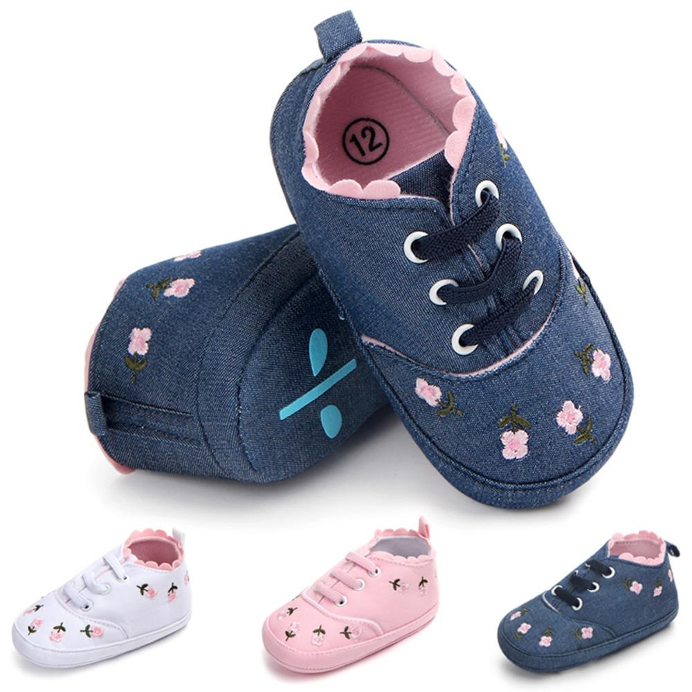 9c4173d5b7bb5 Toddler Kids Lace Up Shoes 0-12M Baby Girl Shoes White Lace Floral  Embroidered Crib Soft Sole Walking Sport