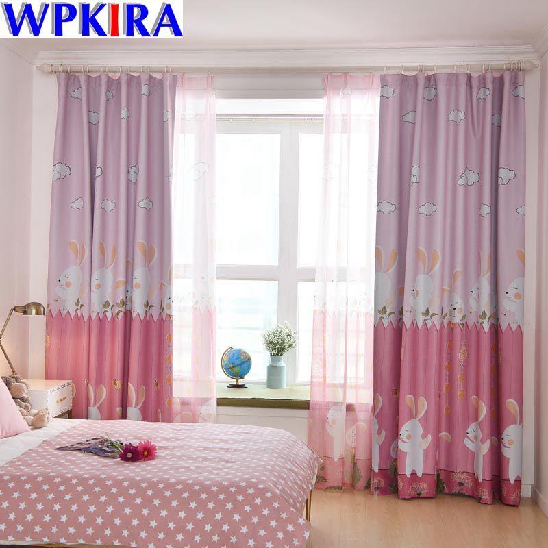 Rabbit Pink Eco friendly Fabric Cartoon Green Curtain