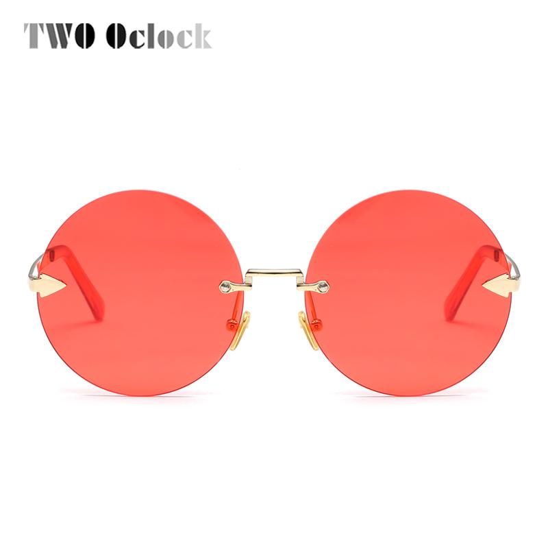 b28627e34bf TWO Oclock Vintage Big Round Sunglass Women Transparent Red Luxury ...