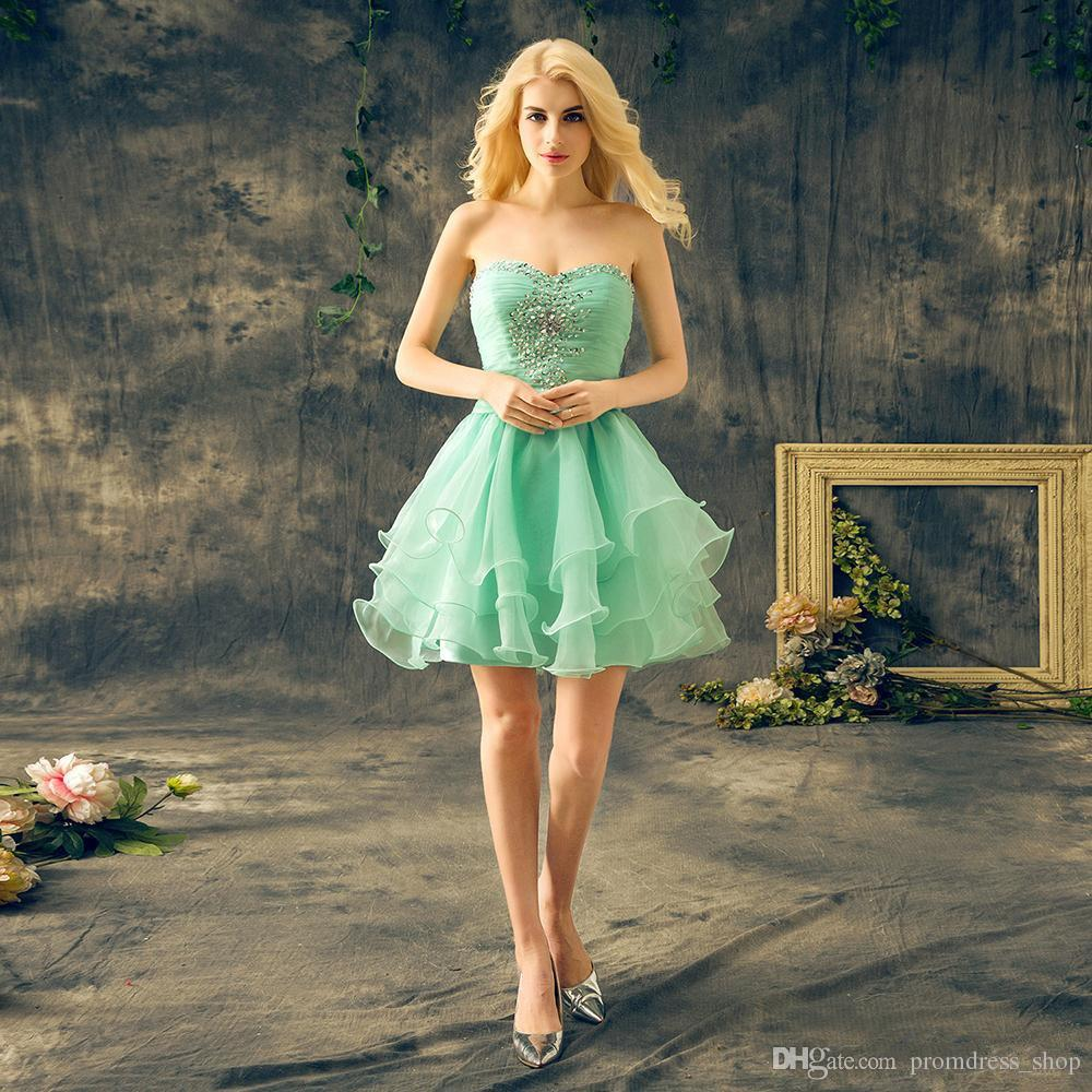 8ee991588f22b Free Shipping Mint Green Short Homecoming Dresses Sweetheart Sleeveless  Crystal Beaded Ruffles Chiffon Cheap Cocktail Party Dresses