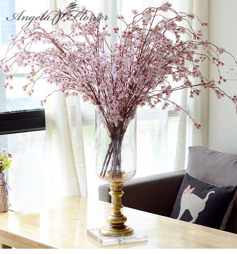 Romantic Artificial Cherry Blossoms Flower Silk Peach Blossom ...