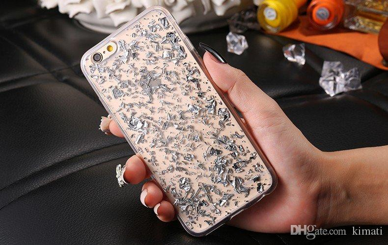 Bling 반짝이 골드 리프 골드 호일 소프트 투명 TPU 커버 케이스 아이폰 5S 6 6S 플러스 삼성 S6 S7 에지