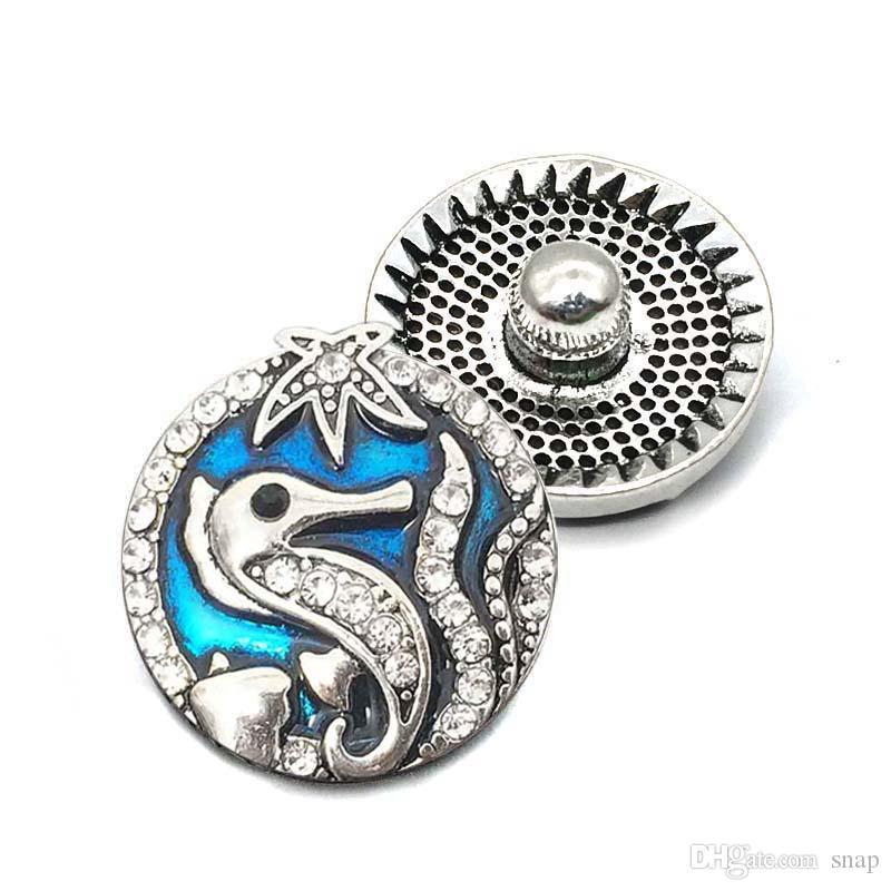 جودة عالية زهرة المحيط w234 18 ملليمتر 20 ملليمتر حجر الراين زر معدني زر المفاجئة سوار قلادة مجوهرات للنساء مجوهرات فضية